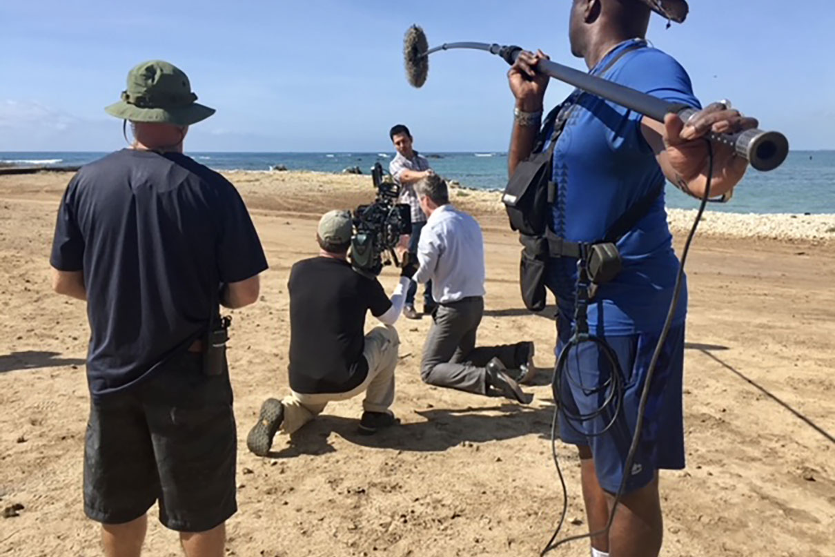 Adrian filming a scene from Hawaii Five-0