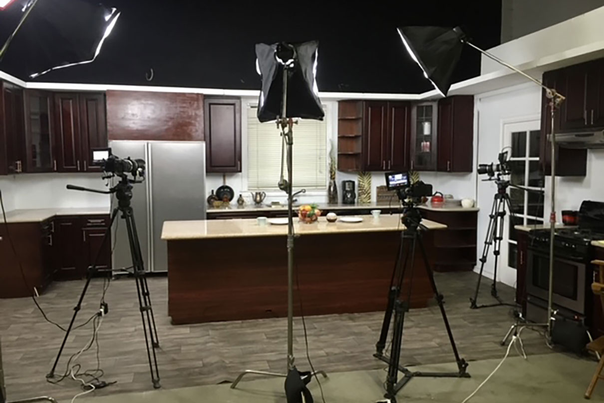 Our kitchen set ready for filming reels